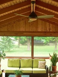 Cedar Porch Addition with ceiling fan