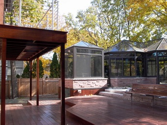 Upper and lower deck remodel with covered walkway