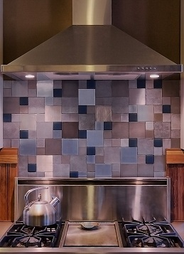 Recycled materials were used for this back splash