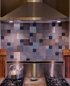 Backsplash made with all recycled materials